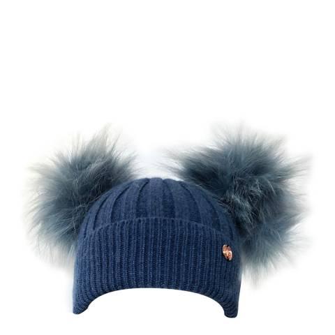 Look Like Cool Denim Blue Cashmere Pom Pom Beanie Hat