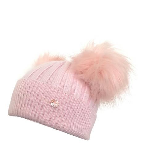 Look Like Cool Pink Cashmere Pom Pom Beanie Hat