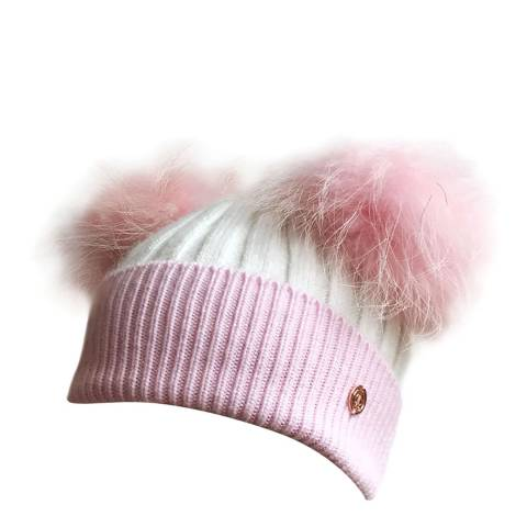 Look Like Cool Kids Pink/White Cashmere Pom Pom Beanie Hat