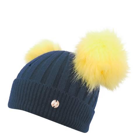 Look Like Cool Navy/Yellow Cashmere Pom Pom Beanie Hat