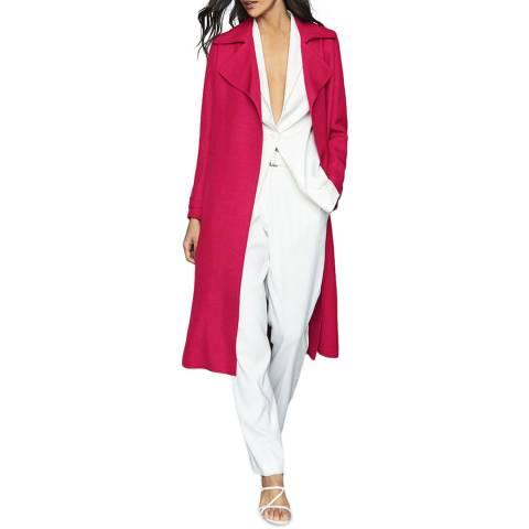 Reiss Pink Lianna Linen Blend Duster Coat