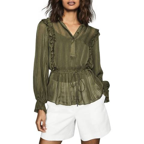 Reiss Khaki Alandra Stripe Blouse