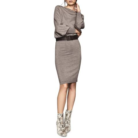 Reiss Grey Mitzy Knitted Dress