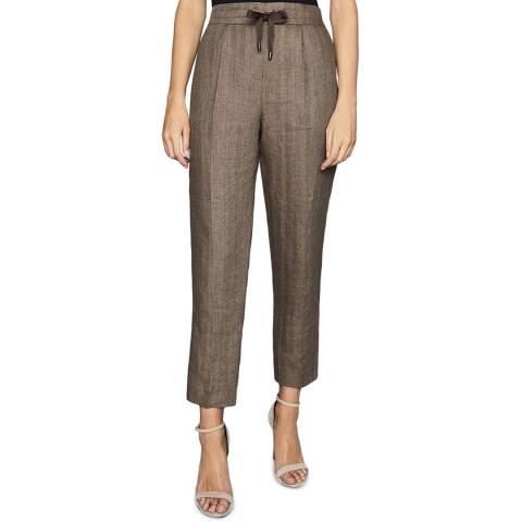 Reiss Brown Claud Herringbone Linen Trousers