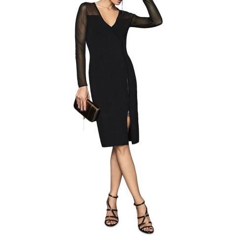 Reiss Black Valencia Sheer Sleeve Zip Dress