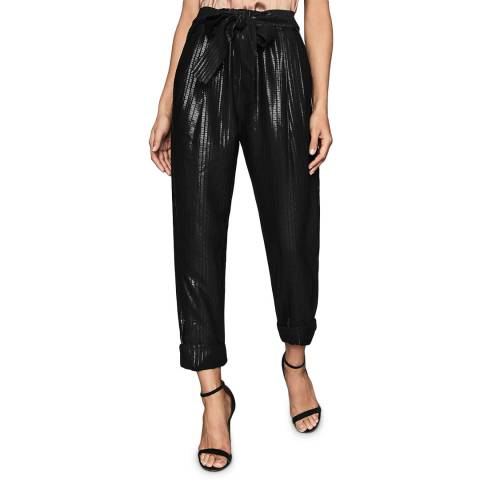 Reiss Black Pennie Shimmer Trousers