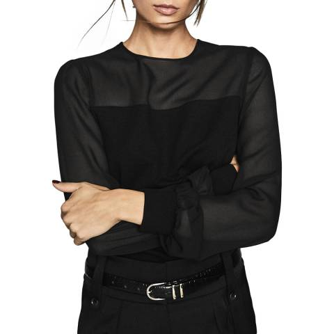 Reiss Black Melissa Sheer Sleeve Top