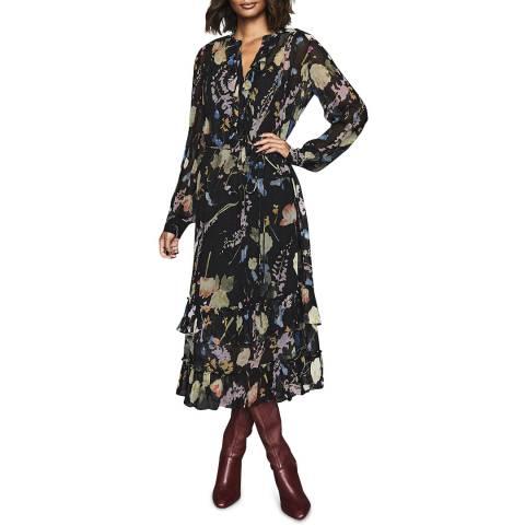 Reiss Black Floral Sadie Dress
