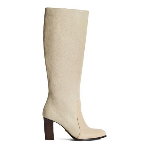 Reiss White Georgia Canvas Knee High Boots