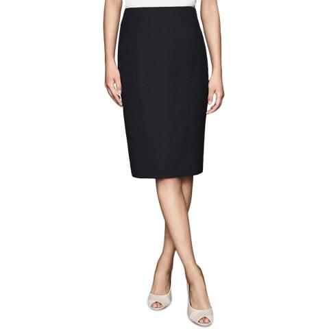 Reiss Navy Hartley Textured Wool Blend Skirt