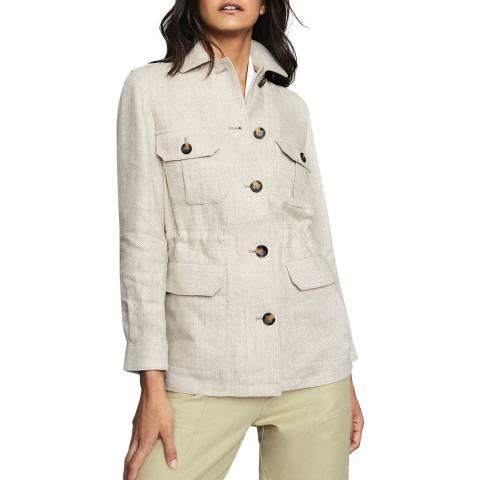 Reiss Neutral Roma Buttoned Linen Jacket