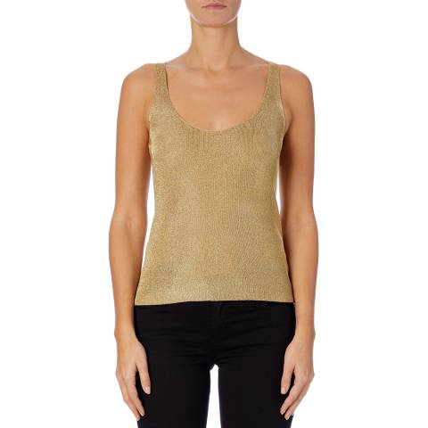 Reiss Gold Agatha Metallic Knit Top