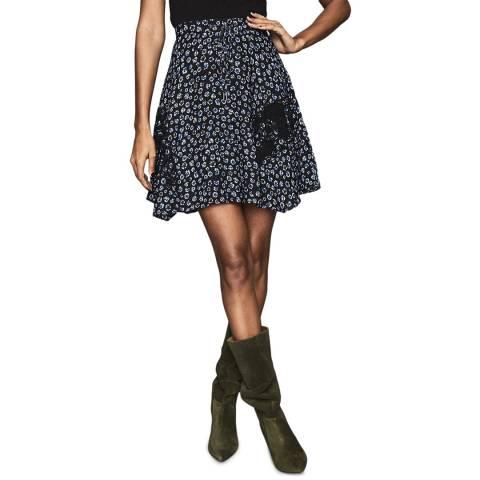 Reiss Blue Floral Marcey Skirt