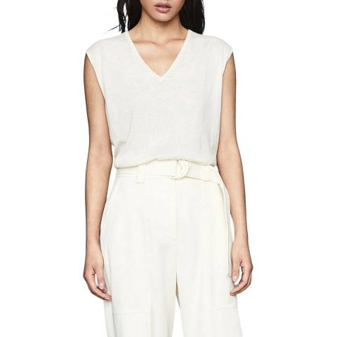 Reiss Neutral Chris Sleeveless Knit Top