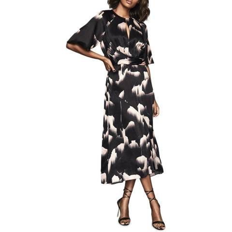 Reiss Black Arlo Glacier Print Dress
