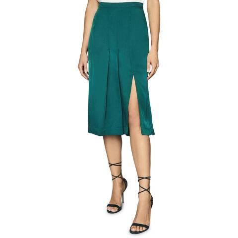 Reiss Teal Cecilia Split Pleat Skirt