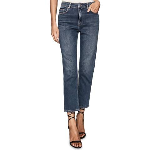 Reiss Blue Bailey Straight Leg Stretch Jeans