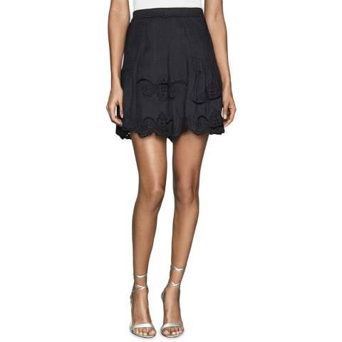 Reiss Black Embroidered Mini Skirt