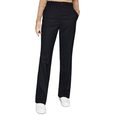 Reiss Navy Hartley Textured Wool Blend Trousers