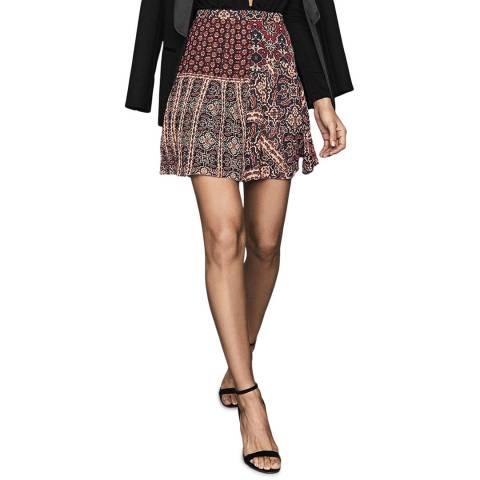 Reiss Red Izarra Patchwork Skirt