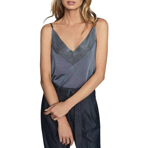 Reiss Blue Jolie Metallic Cami Top