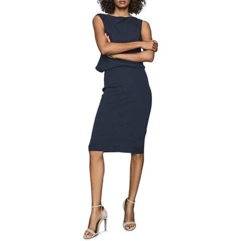 Reiss Navy Claudine Drape Dress