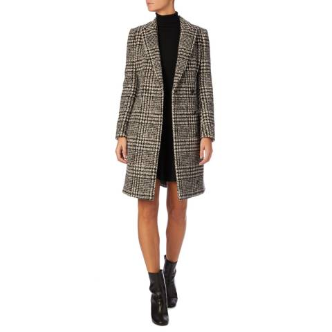Reiss Black Checked Mia Wool Blend Coat
