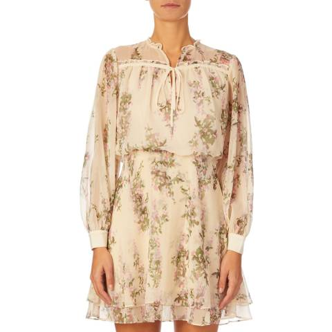 Reiss Beige Floral Lucca Dress
