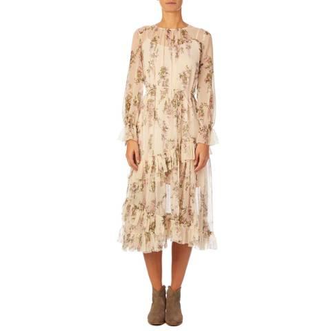 Reiss Beige Floral Amber Midi Dress