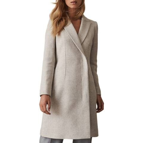 Reiss Grey Melange Santhia Wool Blend Coat