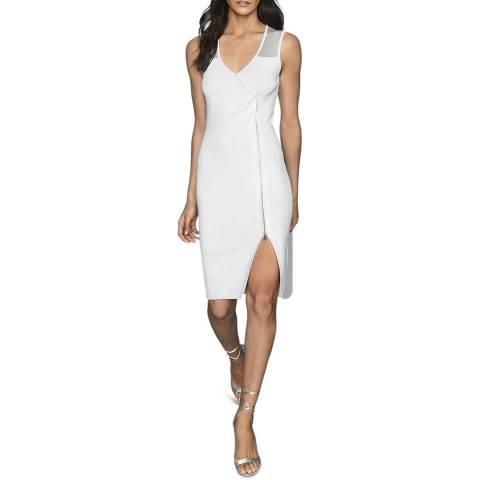 Reiss White Alessia Knitted Bodycon Dress