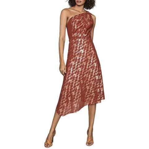 Reiss Red Metallic Delilah Dress