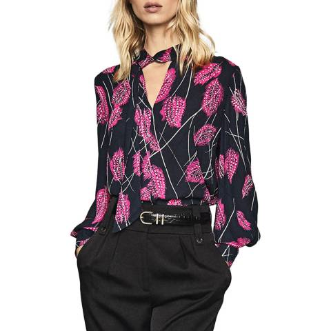 Reiss Pink Lily Feather Blouse