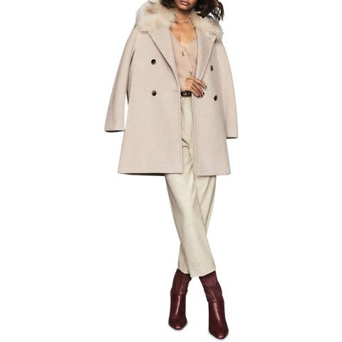 Reiss Oatmeal Lawson Faux Fur Collar Coat