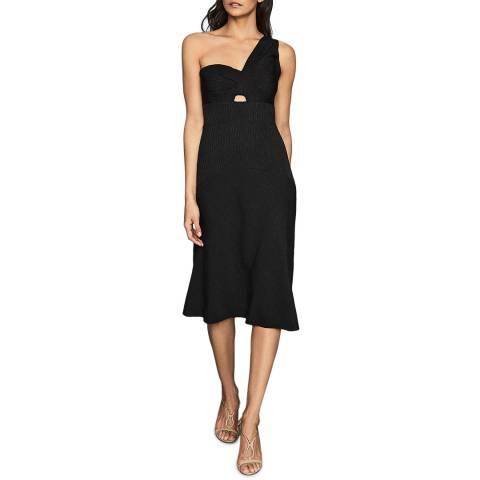 Reiss Black Kennedy One Shoulder Dress
