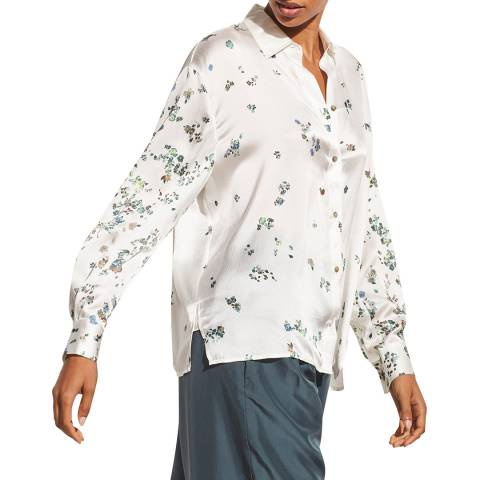 Vince White Floral Silk Blouse