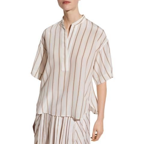 Vince White Stripe Silk Shirt