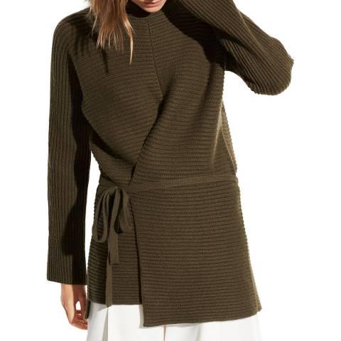 Vince Khaki Tie Front Wool/Cashmere Tunic