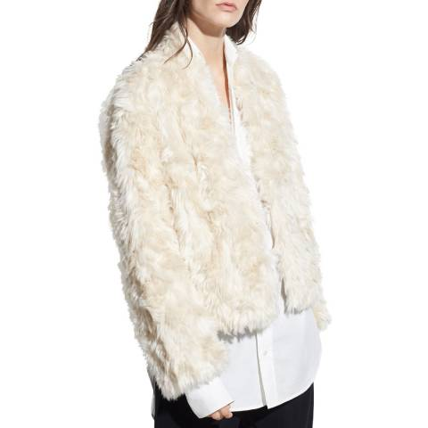 Vince Cream Plush Faux Fur Jacket