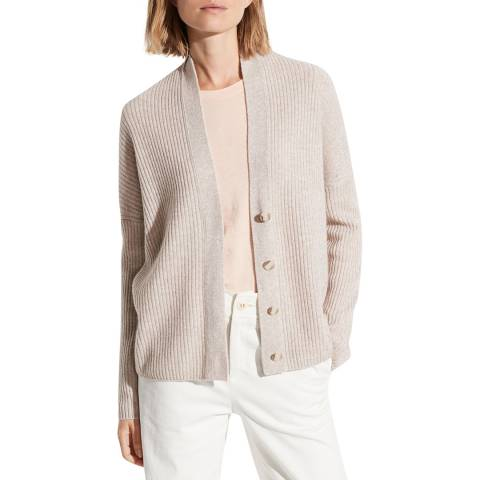 Vince Cream Ribbed Wool/Cashmere Cardigan