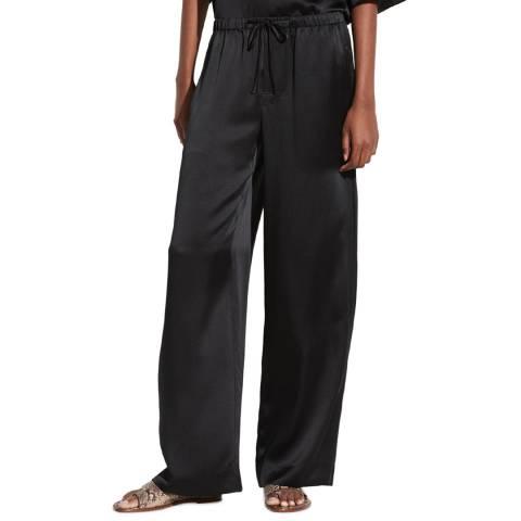 Vince Black Silk Satin Wide Trousers