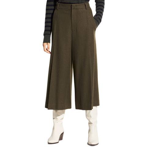 Vince Deep Khaki Pleat Wide Trousers