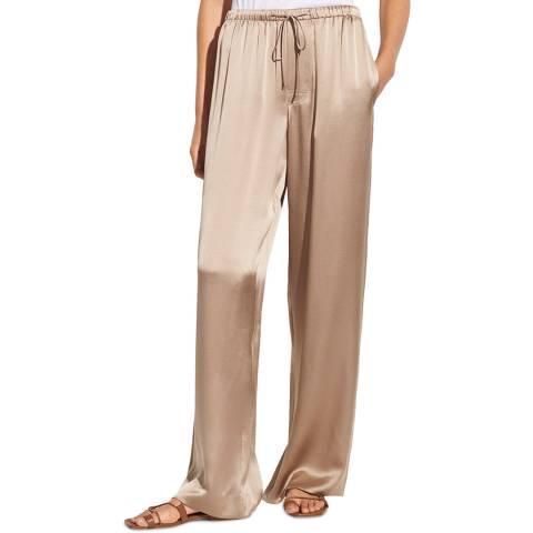 Vince Beige Satin Silk Wide Trousers