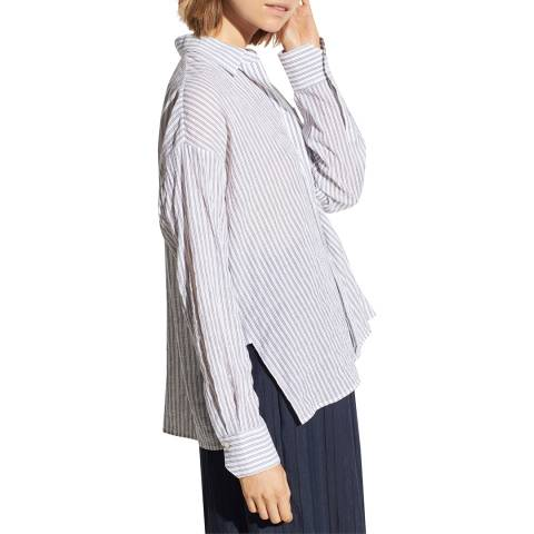 Vince Navy Bar Stripe Cotton Stretch Shirt
