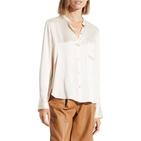 Vince Off White Band Collar Silk Blouse