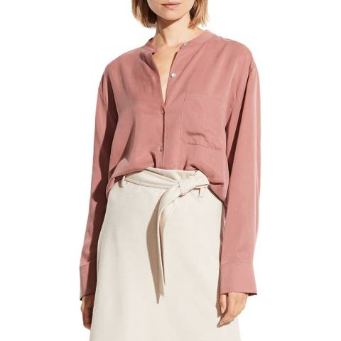 Vince Pink Relaxed Band Collar Blouse