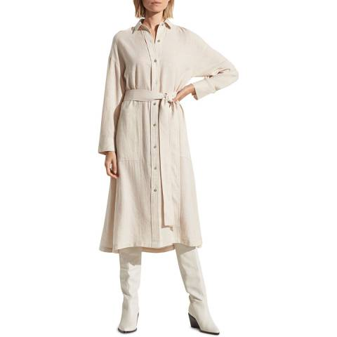 Vince Beige Belted Cotton Blend Shirt Dress