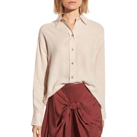 Vince Beige Boxy Cotton Blend Shirt