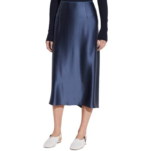 Vince Dark Blue Silk Satin Midi Skirt