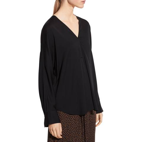 Vince Black V Neck Silk Stretch Blouse